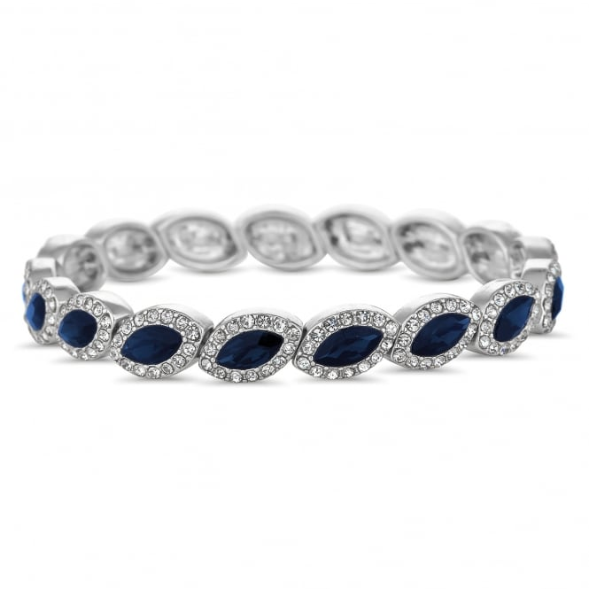Silver Plated Blue Crystal Navette Stretch Bracelet