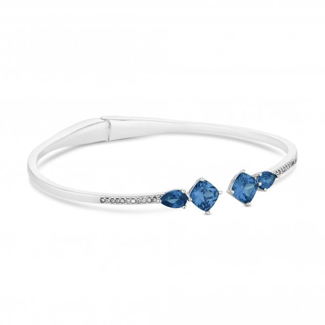Silver Blue Crystal Arrow Cuff Bangle