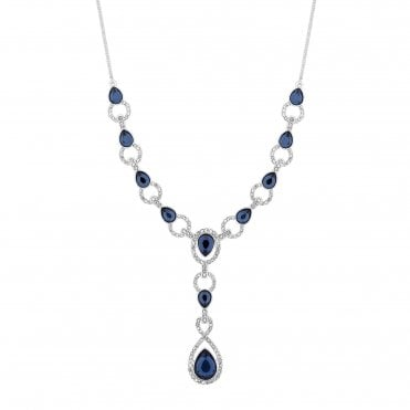 b0471edf3 Silver Plated Blue Crystal Pave Montana Y Drop Lariat Necklace