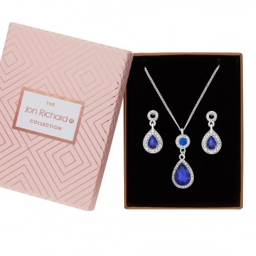 Silver Plated Blue Crystal Peardrop Jewellery Set In A Gift Box