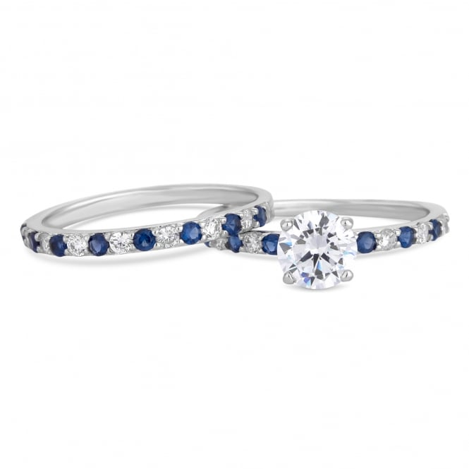 Silver Plated Blue Crystal Stacking Ring Set
