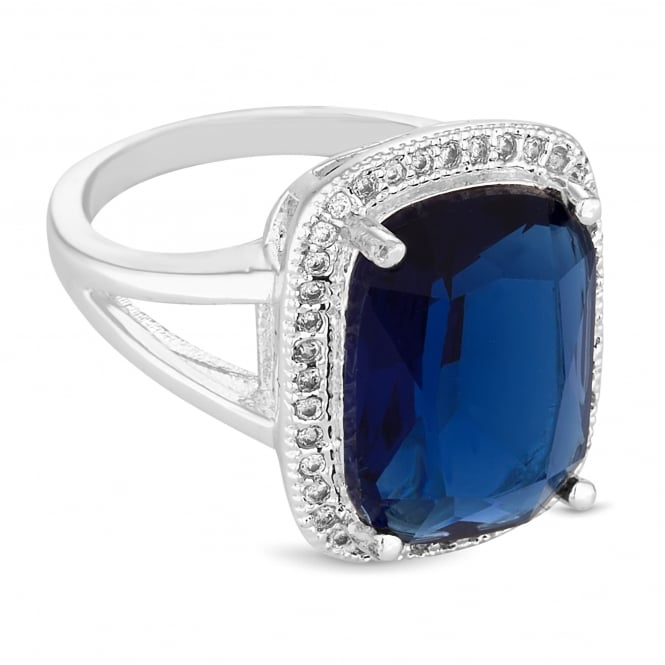 Silver Plated Blue Crystal Surround Statement Ring