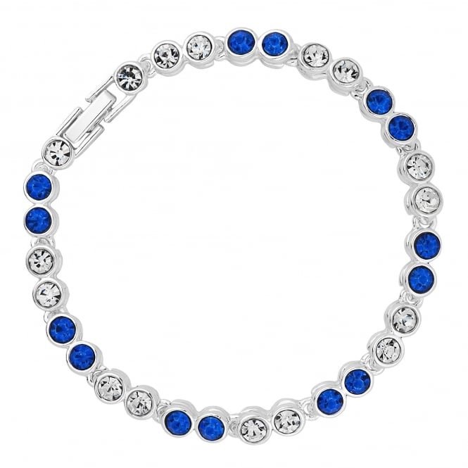 Jon Richard Silver Plated Blue Crystal Tennis Bracelet