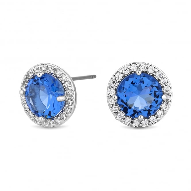 Silver Plated Blue Cubic Zirconia Halo Stud Earring