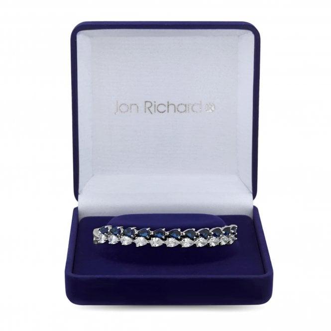 Silver Plated Blue Cubic Zirconia Montana Pear Bangle Bracelet