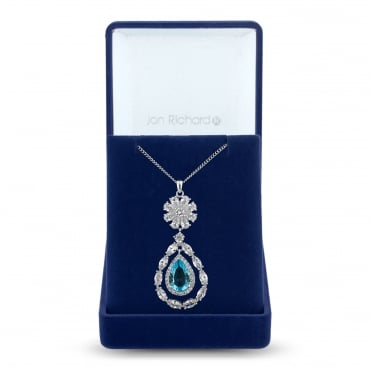 Silver Plated Blue Cubic Zirconia Open Peardrop Necklace In A Gift Box