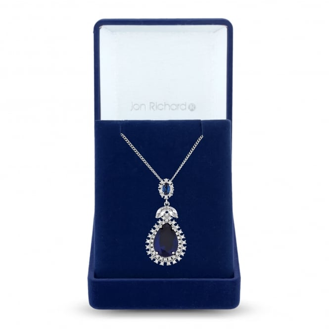 Jon Richard Silver Plated Blue Cubic Zirconia Peardrop And Leaf Necklace In A Gift Box