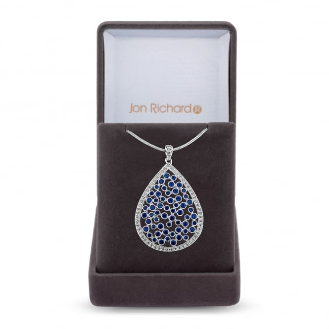Jon Richard Silver Plated Blue Cubic Zirconia Peardrop Cluster Necklace In A Gift Box