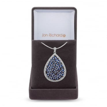 Silver Plated Blue Cubic Zirconia Peardrop Cluster Necklace In A Gift Box