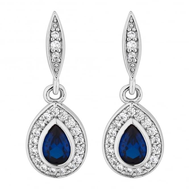 Silver Plated Blue Cubic Zirconia Peardrop Earring