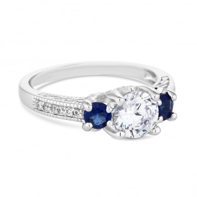 Silver Plated Blue Cubic Zirconia Scatter Stone Ring