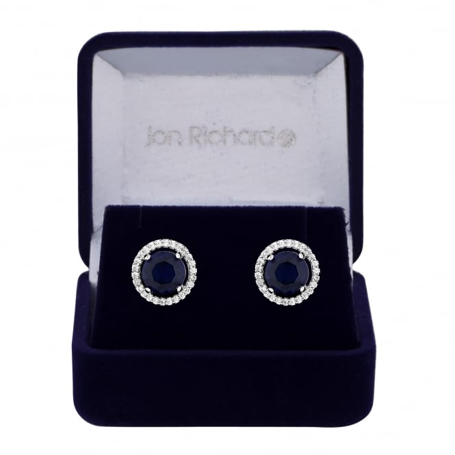 Silver Plated Blue Cubic Zirconia Solitaire Stud Earring In A Gift Box