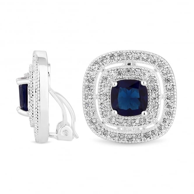 Jon Richard Silver Plated Blue Cubic Zirconia Square Stud Clip On Earring