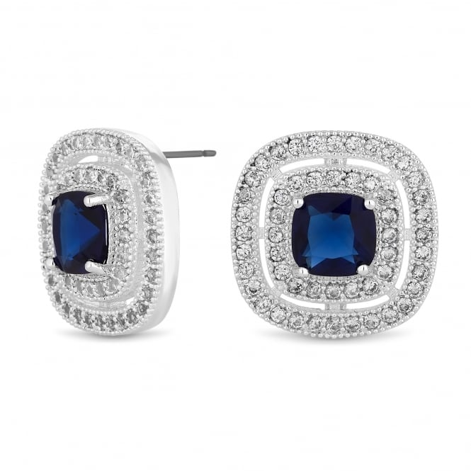 Jon Richard Silver Plated Blue Cubic Zirconia Square Stud Earring