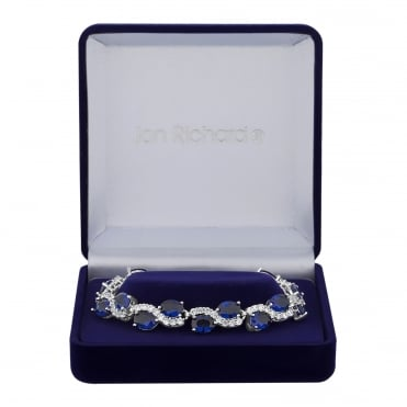 Silver Plated Blue Cubic Zirconia Wave Bracelet