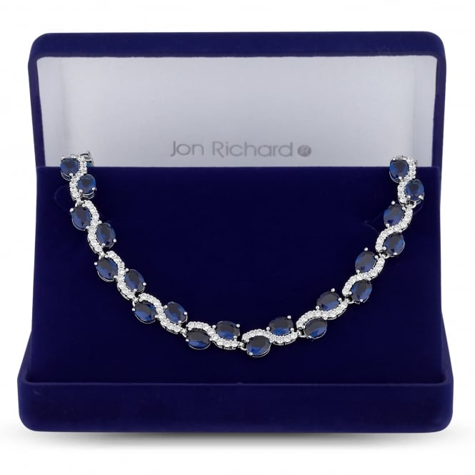 Silver Plated Blue Cubic Zirconia Wave Necklace In A Gift Box