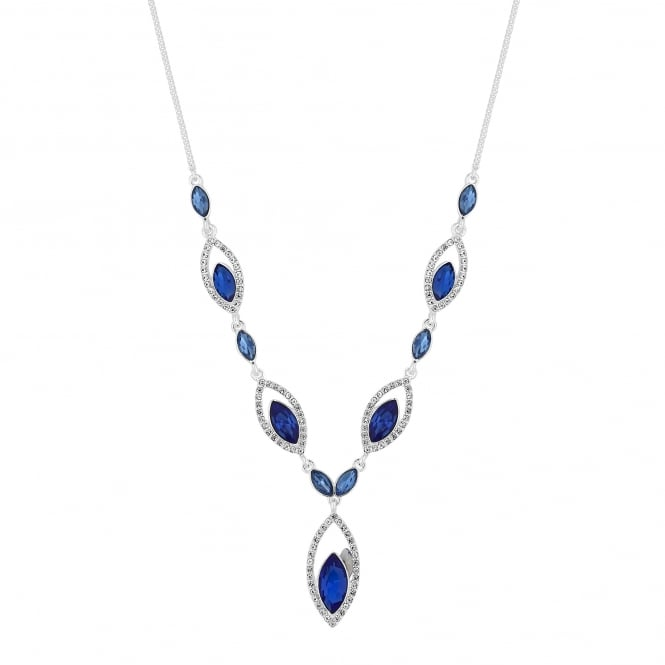 Silver Plated Blue Diamante Open Navette Necklace