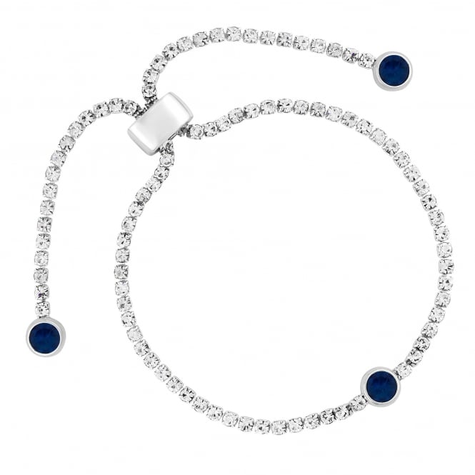 Silver Plated Blue Diamante Toggle Bracelet