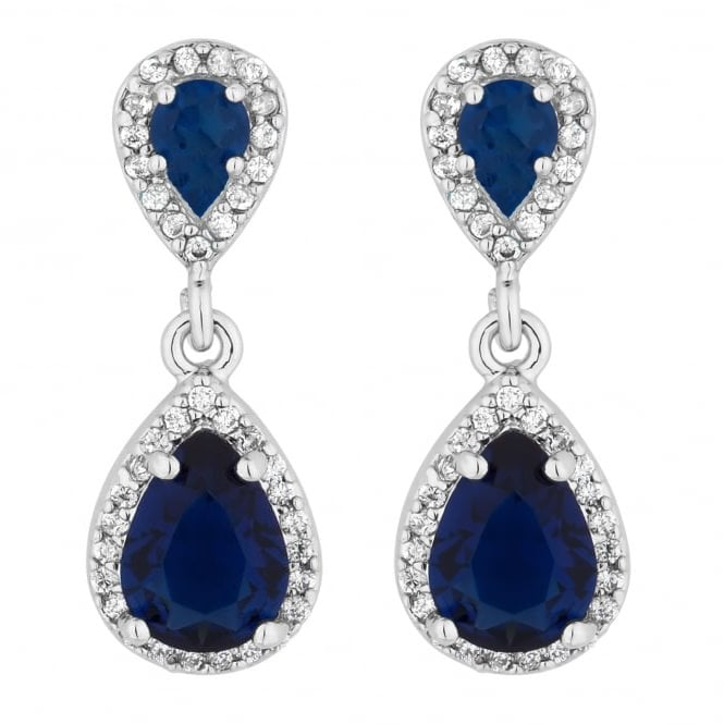 Jon Richard Silver Plated Blue Double Drop Earring