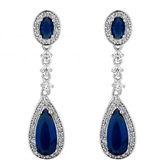 Silver Plated Blue Double Drop Earring