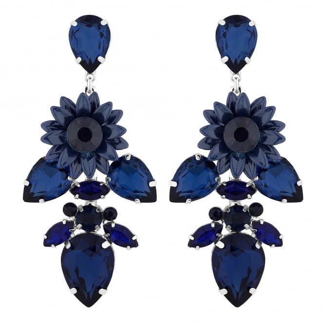 Jon Richard Silver Plated Blue Floral Crystal Statement Drop Earring