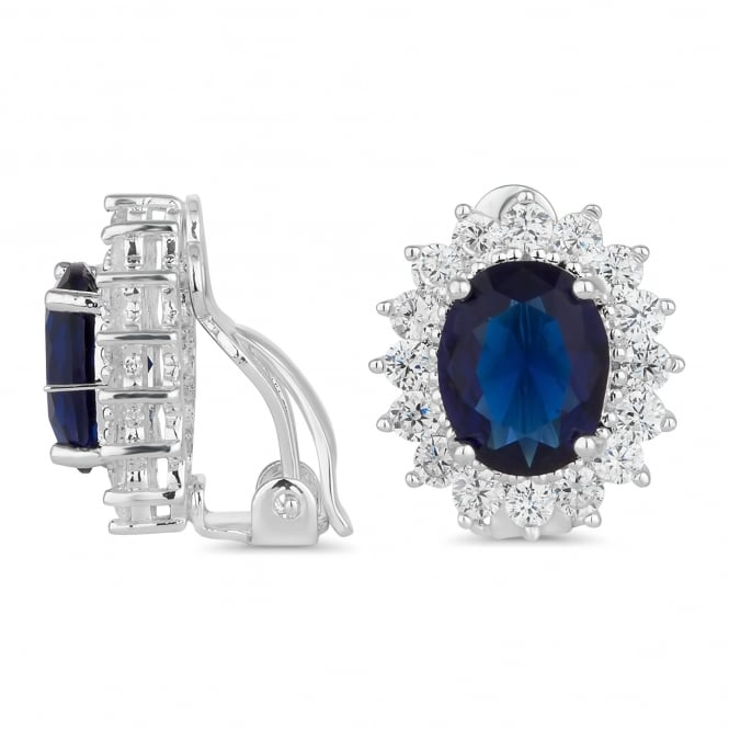 Silver Plated Blue Pave Surround Clip On Earring
