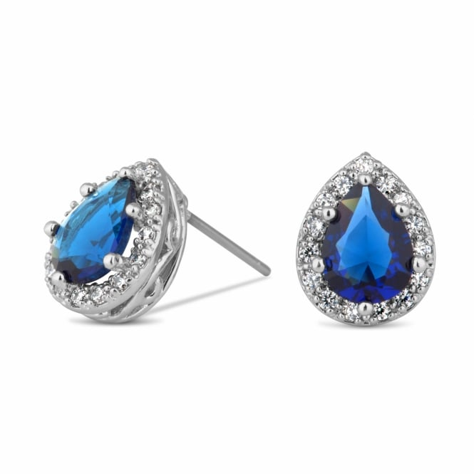 Silver Plated Blue Peardrop Surround Stud Earring