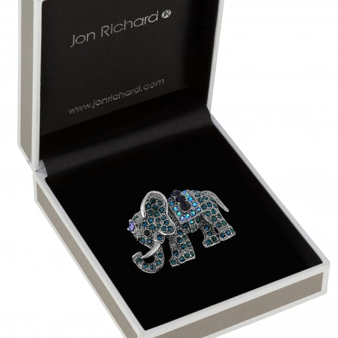 Silver Plated Blue Tones Crystal Elephant Animal Brooch