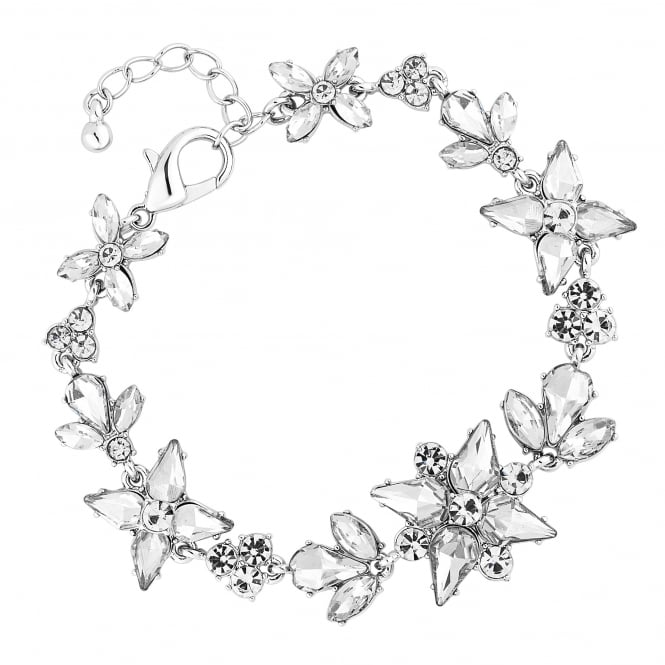 Jon Richard Silver Plated Botanical Crystal Bracelet