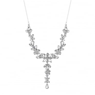 Silver Plated Botanical Crystal Y Necklace