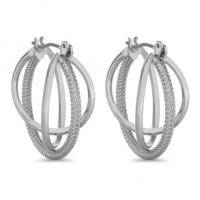 Silver Plated Braided Triple Hoop Earring