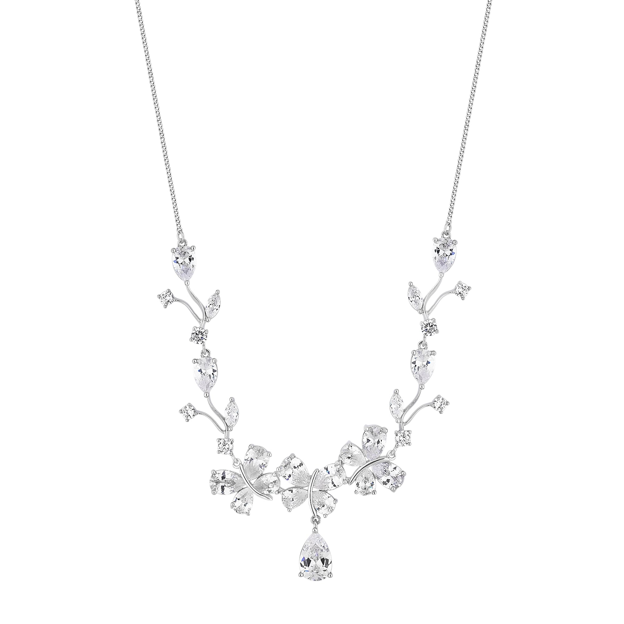 trio zoom silver sterling necklace zirconia enomis necklaces loading en