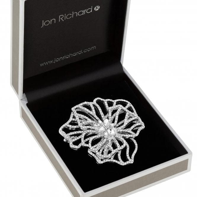 Silver Plated Clear Crystal Contemporary Layered Leaf Floral Brooch