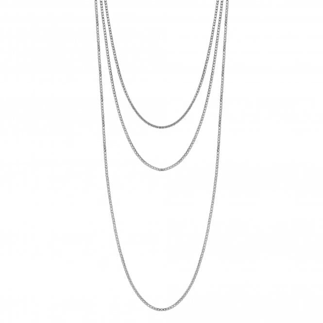 Silver Plated Clear Crystal Diamante Multirow Allway Necklace