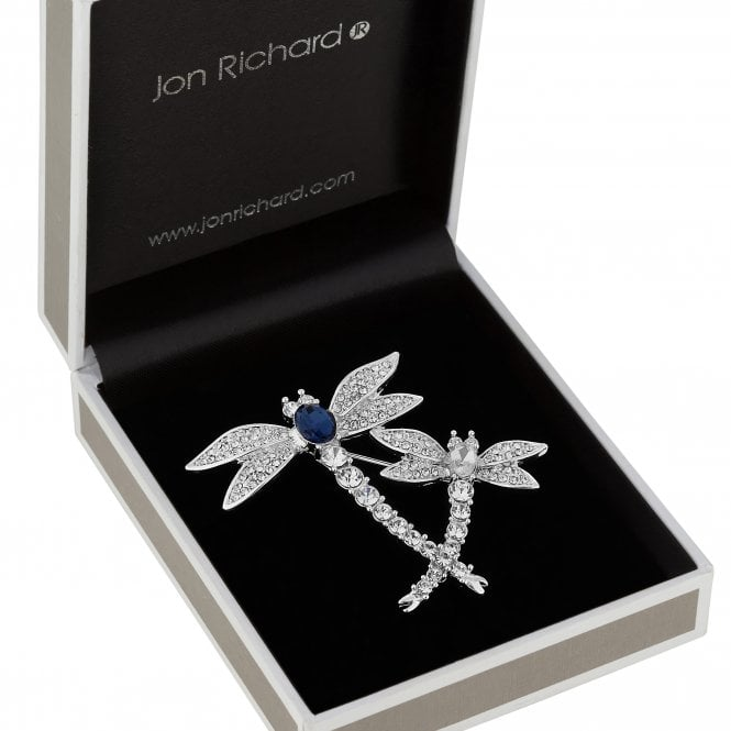 Silver Plated Clear Crystal Dragonfly Animal Brooch