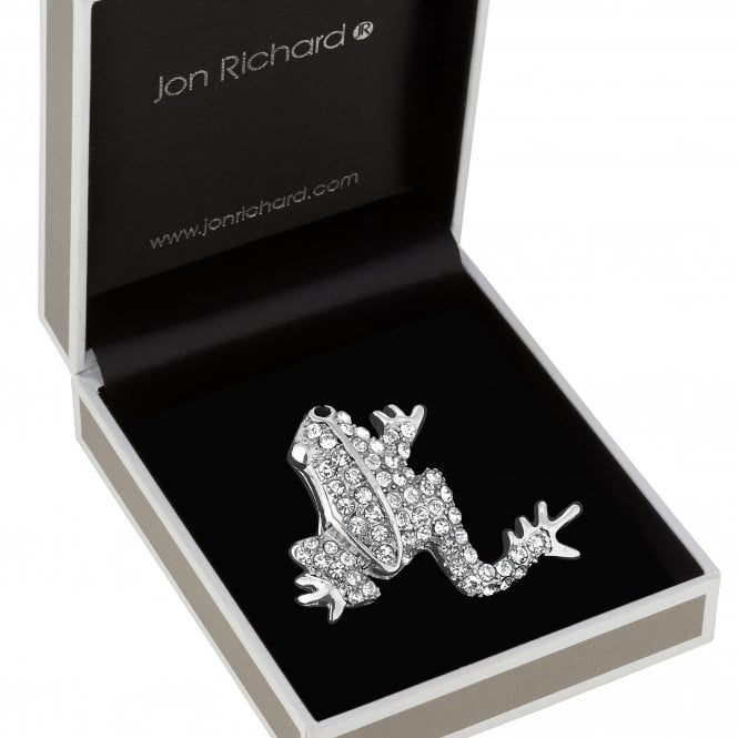 Silver Plated Clear Crystal Frog Animal Brooch