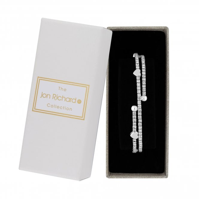 Silver Plated Clear Crystal Heart  Bangle Bracelet