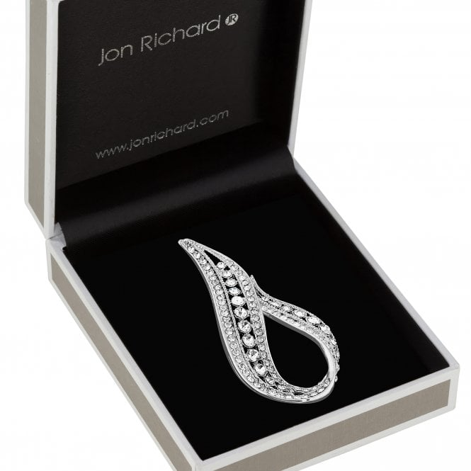 Silver Plated Clear Crystal Infinity Decorative Brooch