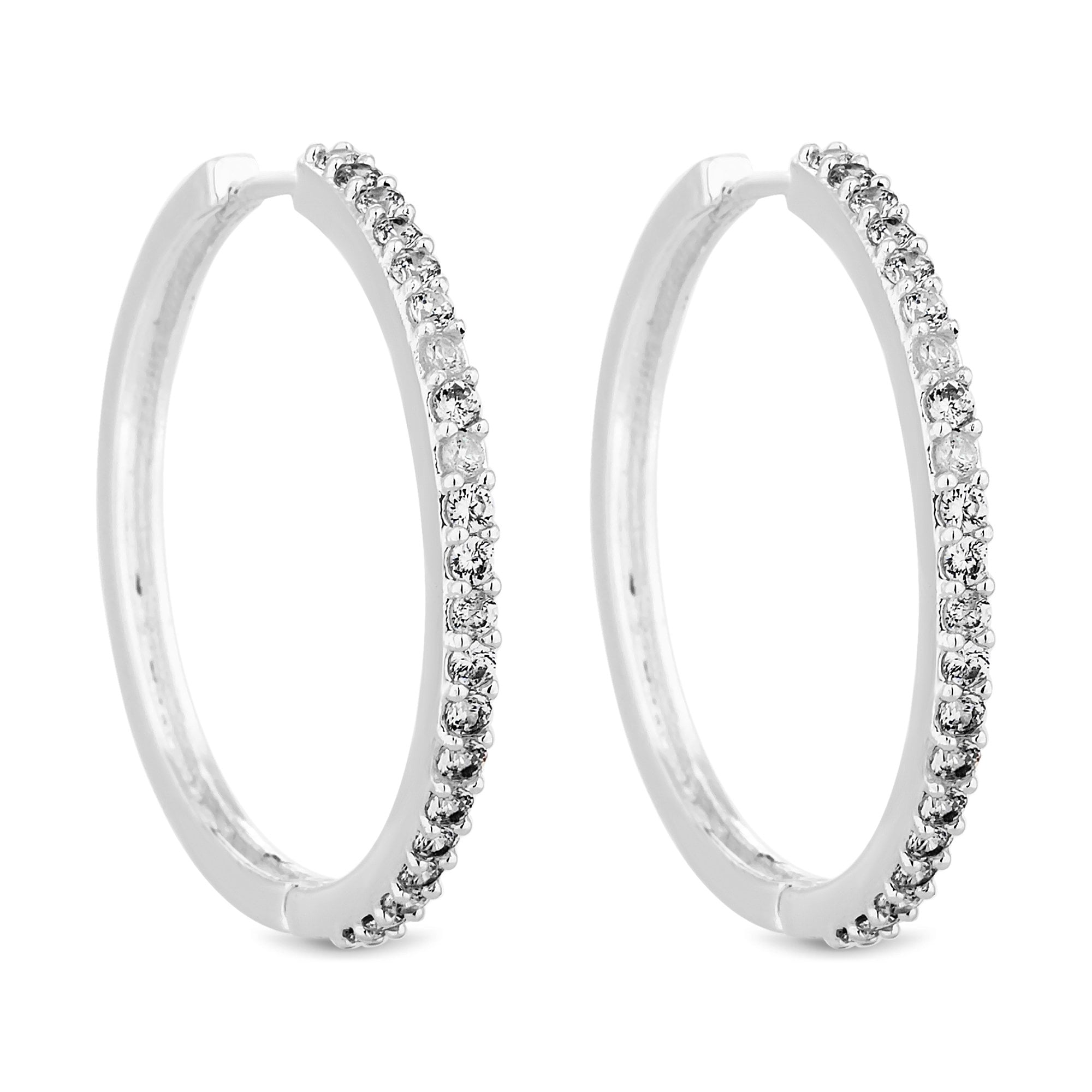 ec64c128171b Jon Richard Silver Plated Clear Crystal Large Crystal Hoop Earring ...
