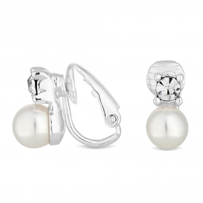 Image of Silver Plated Clear Crystal Pearl And Crystal Small Snowman Clip On Earring