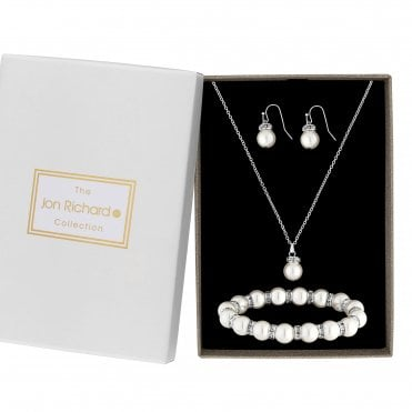Silver Plated Clear Crystal Pearl Pendant 3 Piece Matching Set