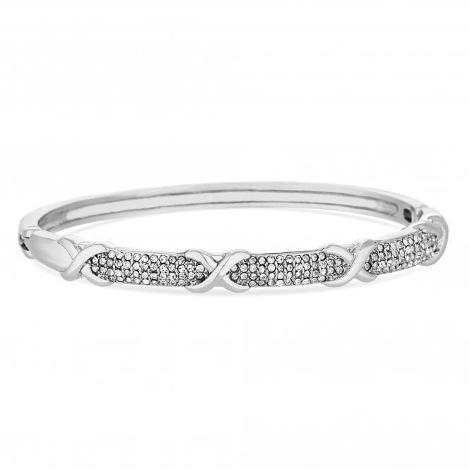 Silver Plated Clear Crystal Polished Bangle Bracelet