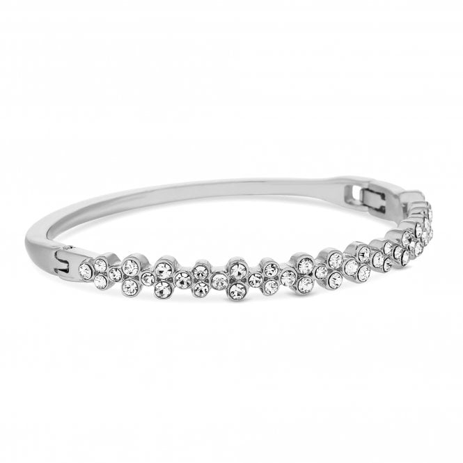 Silver Plated Clear Crystal Tennis Bangle Bracelet