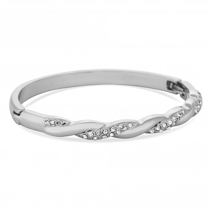 Silver Plated Clear Crystal Twist Bangle Bracelet