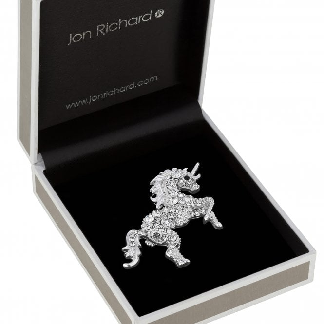 Silver Plated Clear Crystal Unicorn Animal Brooch