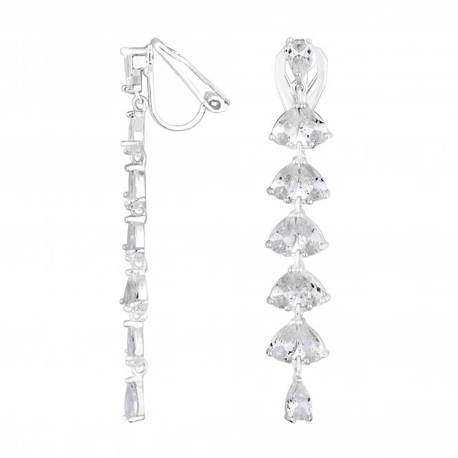 Image of Silver Plated Clear Cubic Zirconia Linear Pear Clip On Earring