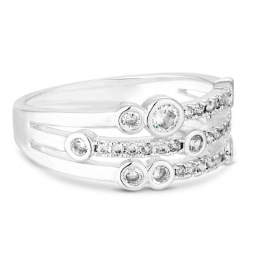 4299eb40f Silver Plated Clear Cubic Zirconia Multi Tennis Sized Ring