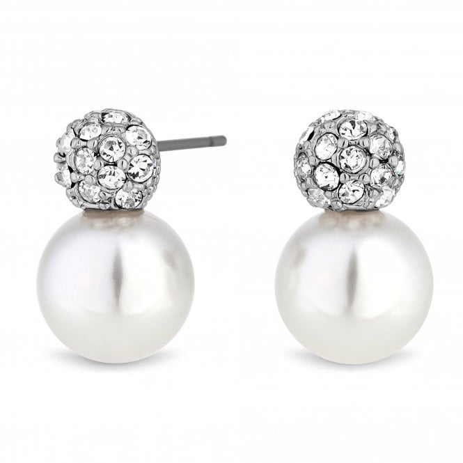 Image of Silver Plated Clear Cubic Zirconia Pearl And Crystal Snowman Stud Earring