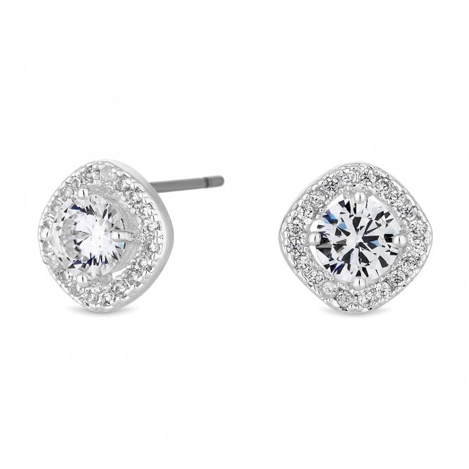 Image of Silver Plated Clear Cubic Zirconia Square Clara Stud Earring