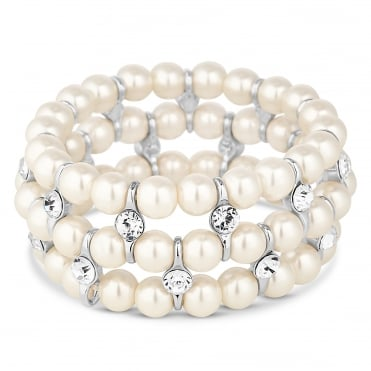 Silver Plated Cream Pearl And Crystal Coil Stretch Bracelet